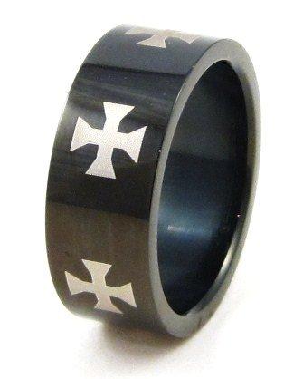 Iron Cross High Gloss Black Stainless Steel Ring SSR4594