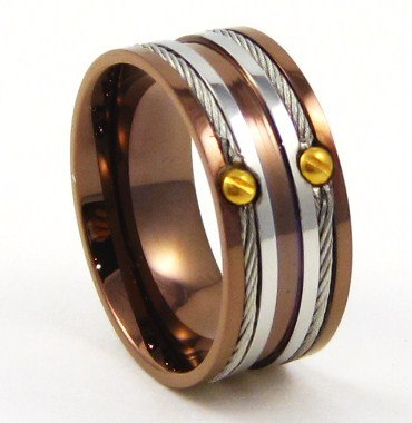 10mm Wire Cable Copper Stainless Steel Ring SSR4720 Size 7