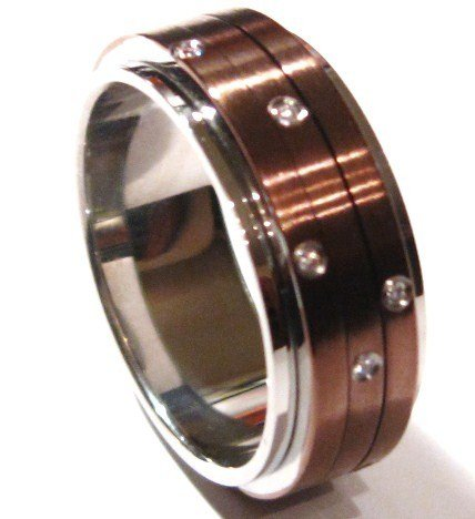 CZ Spinning Copper Stainless Steel Ring SSR4732 Sz 8