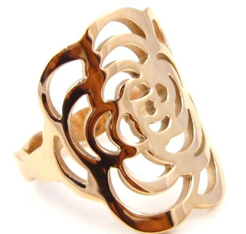 Stunning Copper Rose Flower Stainless Steel Statement Ring SSR4811