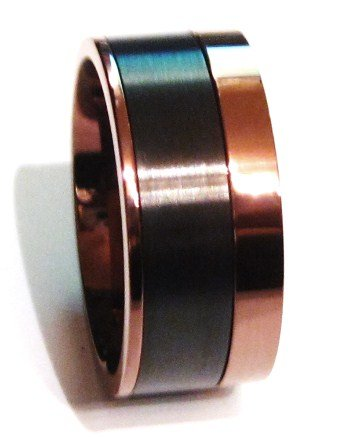 Copper Black Wide Stainless Steel Ring SSR4895 Sz 6, 7