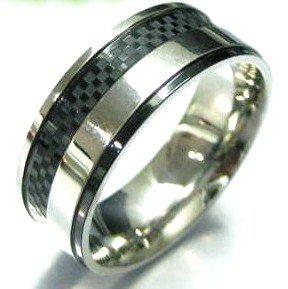 Black Carbon Fiber Stainless Steel Ring, SSR4911