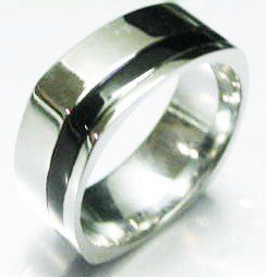 Square High Polish Stainless Steel Ring Black Stripe SSR4992