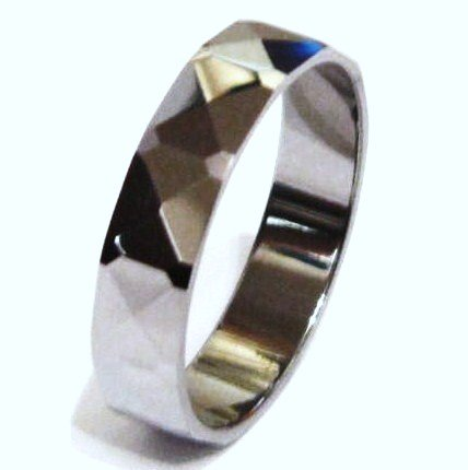 High Polish Multi Faceted Tungsten Carbide Ring TU3023 Sz 8.25