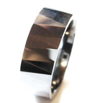 High Polish Multi Faceted Tungsten Carbide Ring TU3036