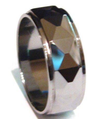 High Polish Faceted Tungsten Ring TU3043