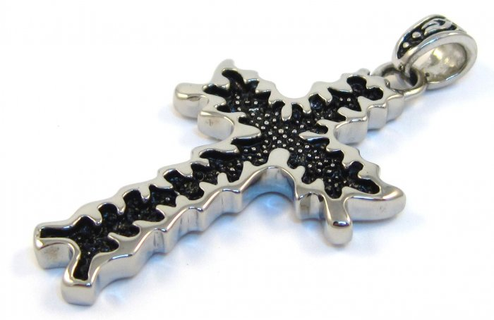 """1.8"""" Jagged Edge Black Stainless Steel Cross Pendant with FREE 20"""" SS Ball Chain SSP3637"""