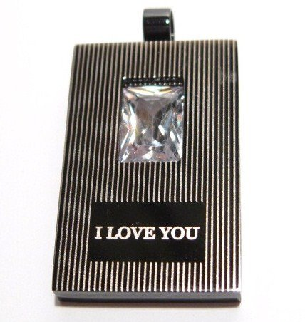 "Black Stainless Steel CZ I LOVE You Pendant with FREE 20"" SS Ball Chain SSP3663"