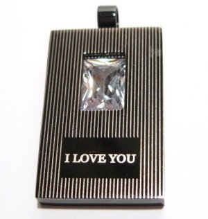 """Black Stainless Steel CZ I LOVE You Pendant with FREE 20"""" SS Ball Chain SSP3663"""