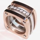 Chunky Square Copper CZ Stainless Steel Statement Ring SSR1737