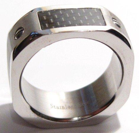 Black Carbon Fiber Chunky Stainless Steel Ring SSR1866