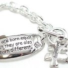 "Inspirational toggle bracelet inscribed ""Individuality"" ""All are born Equal...BR56"