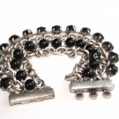 Wide 4 Row Chains Black Beads Magnetic Bracelet BR68