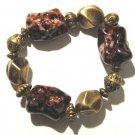 Chunky Trendy Brownish Red Bead Stretch Bracelet BR13