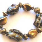 Chunky Trendy Gold Black Bead Stretch Bracelet BR14