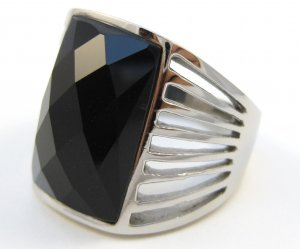 Black Onyx Chunky Stainless Steel Statement Ring SSR5183 Sz 9
