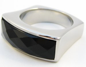 Chunky Faceted Black Onyx Stainless Steel Statement Ring SSR2537