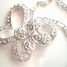 Exquisite AB/Clear CZ Butterfly Rhodium Pendant Necklace NP19