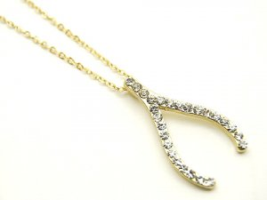 Lucky Crystal Wishbone Gold Pendant Necklace NP25