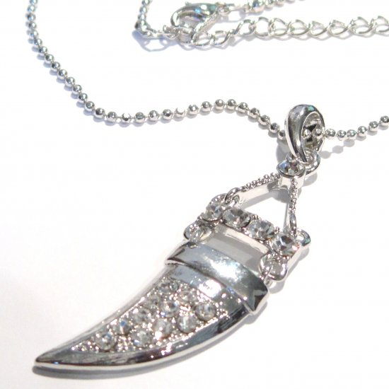 Trendy Clear Crystal Pave Tusk Horn Rhodium Pendant Necklace NP83