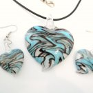 Aqua Black Swirl Murano Glass Heart Necklace Earrings Set NP100