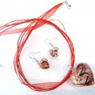 3D Red Murano Glass Heart Necklace & Earrings SET NP104