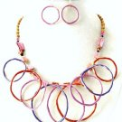 Colorful Metal Circle Link Glass Beads Necklace and Earrings Set NP111