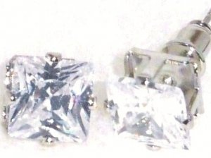 6mm Square Faceted Clear CZ Stud Post Earrings EA201 CL