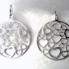"2"" Round Thin MATTE Silvertone Metal HEART Cut Out Earrings EA01"