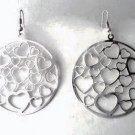 """2"""" Round Thin MATTE Silvertone Metal HEART Cut Out Earrings EA01"""
