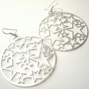 "2"" Round Thin MATTE Silvertone Metal STAR Cut Out Earrings EA02"