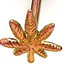 COPPER / PINK Titanium Anodized 3D Pot Leaf Tongue Ring Potleaf Barbell, 14g, BJ74