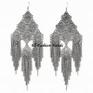 Filigree Pattern Chain Link Cascade Drop Earrings EA61