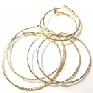 3 Prs Assorted Trendy 14K Gold EP Hoop Earrings EA81