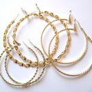 3 Pairs Assorted Twisted Rope 14K Gold EP Hoop Earrings  EA84
