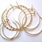 3 Pairs Assorted Twisted Rope 14K Gold EP Hoop Earrings  EA84