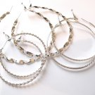 3 Pairs Assorted Twisted Rope Silver Hoop Earrings EA85
