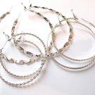 3 Pairs Assorted Twisted Rope Silver Hoop Earrings EA85