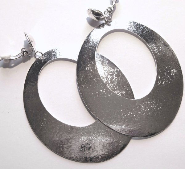 3.5 inch Silver Textured Dangle Clip On Earrings EA89