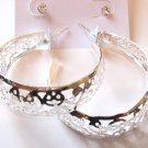 2 Prs CZ Stud and Filigree Hoop Silver Earrings Set EA95