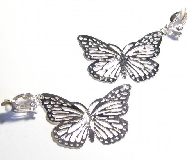 2 5 in adorable filigree butterfly clip on earrings ea104