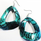 Aqua 2.25 inch Wavy Shape Dangle Earrings EA116