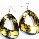 Gold 2.25 inch Wavy Shape Dangle Earrings EA119