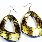 Gold 2.25 inch Wavy Shape Dangle Earrings EA119