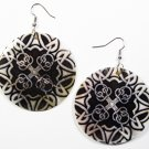 "2"" Unique Pattern Genuine Shell Dangle Earrings EA129"