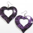 Purple 2.25 inch Wavy Heart Shape Dangle Earrings EA136