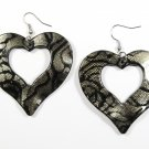 Silver 2.25 inch Wavy Heart Shape Dangle Earrings EA137