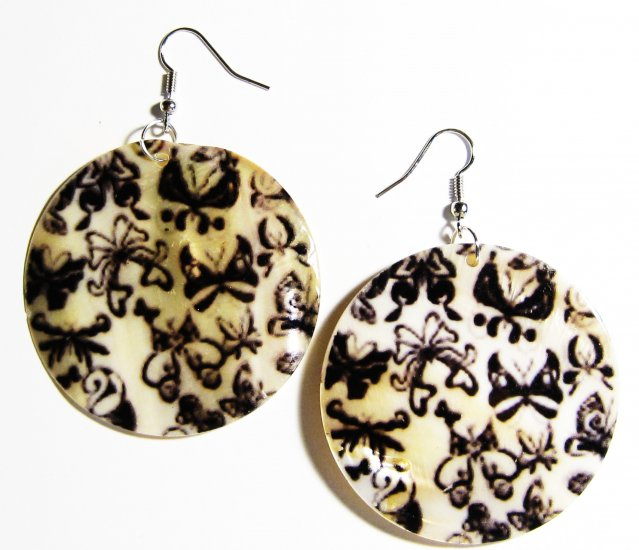 """2"""" Art Deco Pattern Dangle Shell Earrings EA150"""