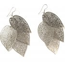 3 inch Filigree Leaf Cascade Dangle Earrings EA31