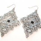 "2.75"" Antique Silver Victorian Style Filigree CZ Dangle Earrings EA53"